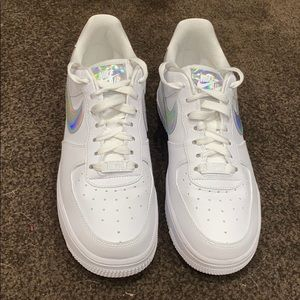 nike air force 1's with holo check mark